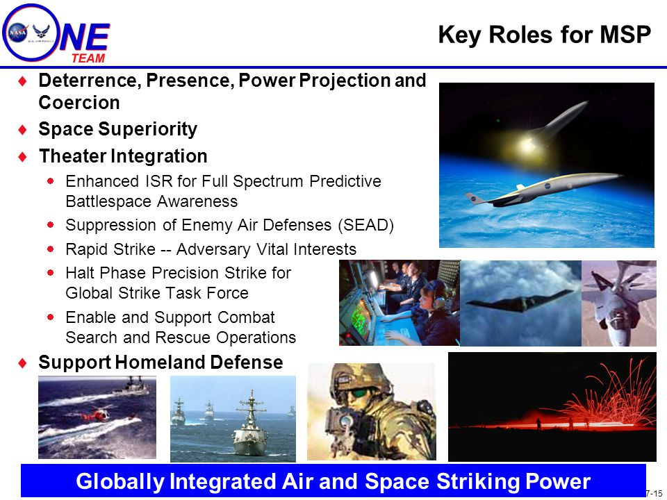 ONE.007-15 Key Roles for MSP  Deterrence, Presence, Power Projection and Coercion  Space Superiority  Theater Integration  Enhanced ISR for Full S