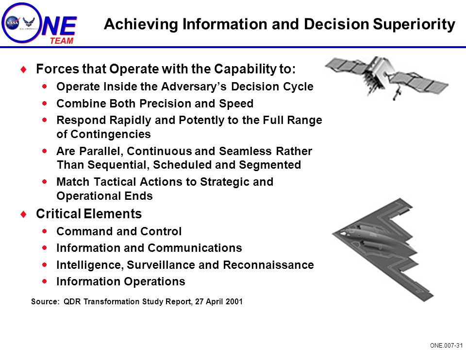 ONE.007-31 Achieving Information and Decision Superiority  Forces that Operate with the Capability to:  Operate Inside the Adversary's Decision Cycl