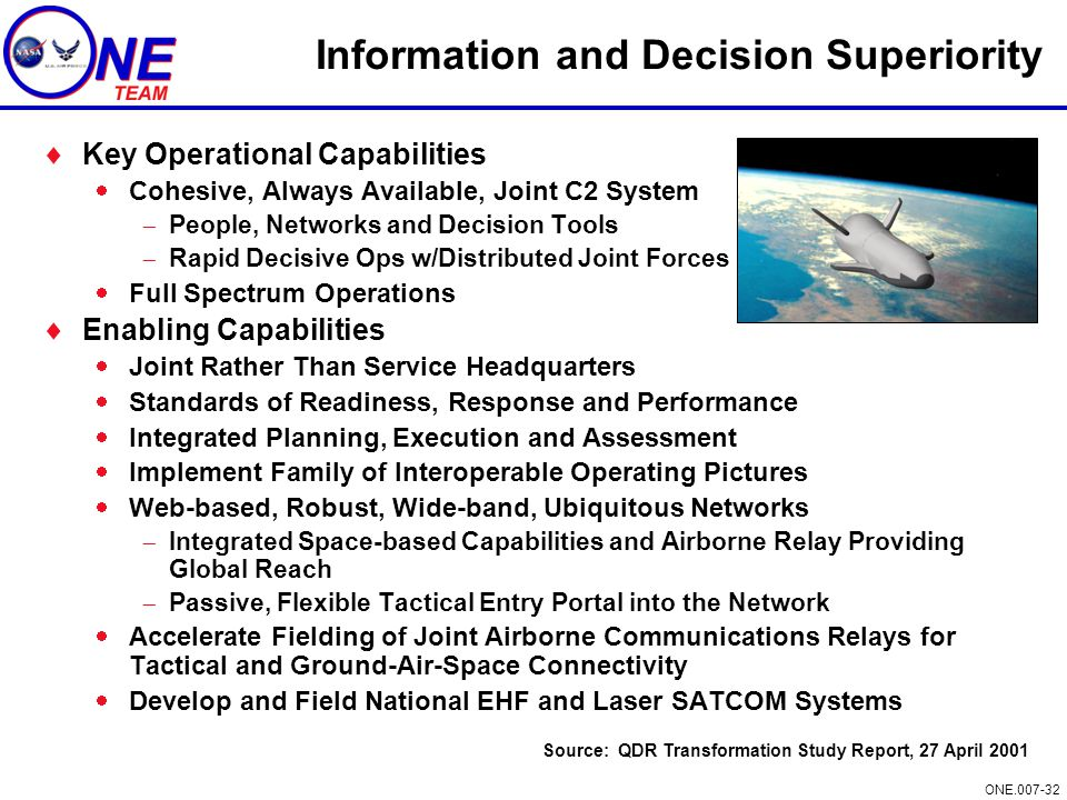 ONE.007-32 Information and Decision Superiority  Key Operational Capabilities  Cohesive, Always Available, Joint C2 System  People, Networks and De