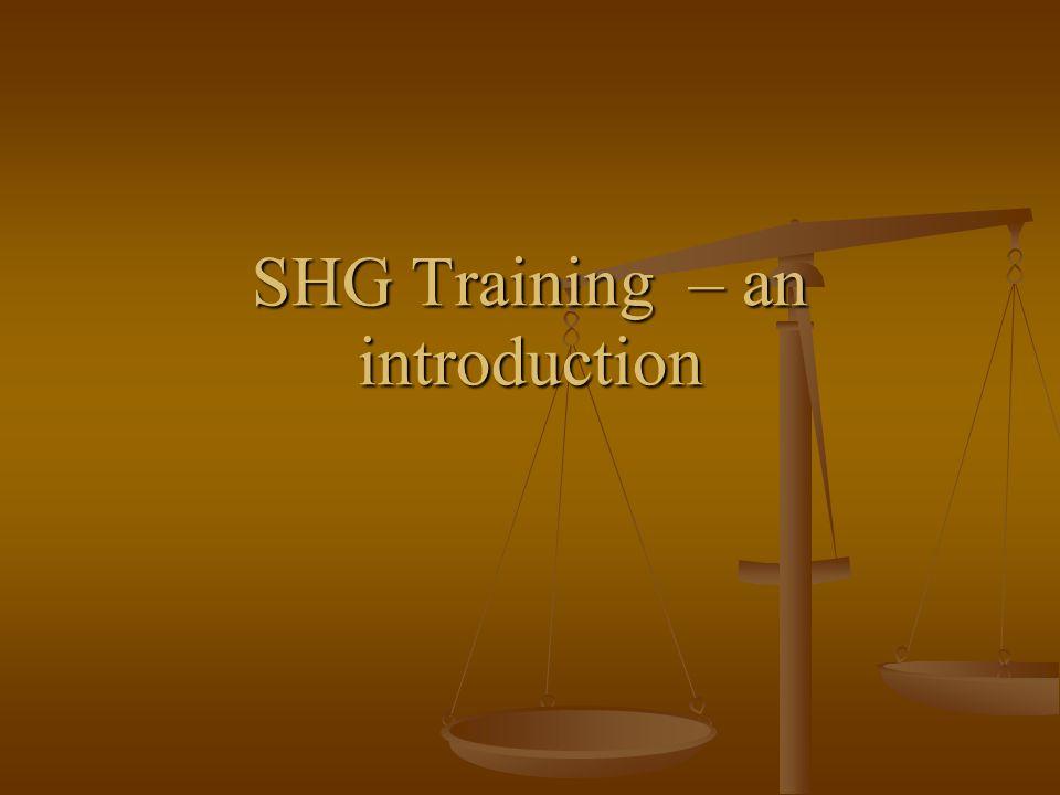 SHG Training – an introduction