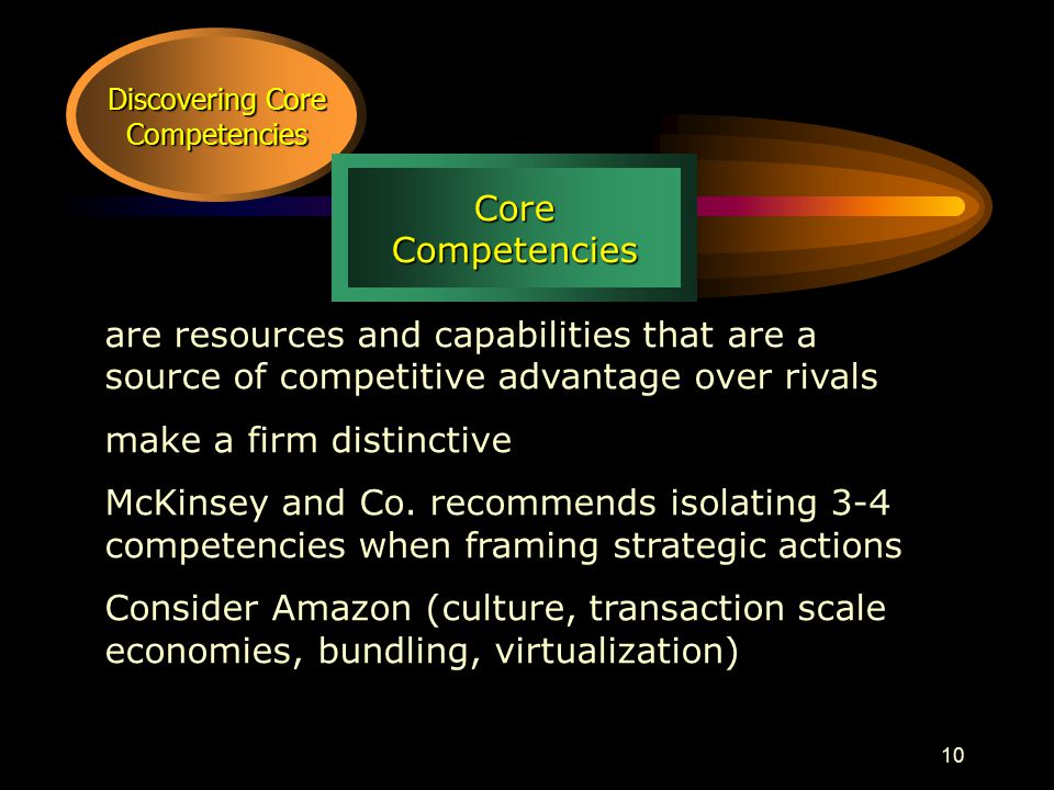 10 Discovering Core Competencies CoreCompetencies are resources and capabilities that are a source of competitive advantage over rivals make a firm distinctive McKinsey and Co.
