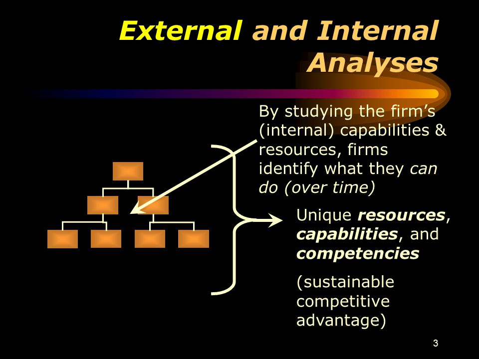 3 External and Internal Analyses By studying the firm's (internal) capabilities & resources, firms identify what they can do (over time) Unique resources, capabilities, and competencies (sustainable competitive advantage)