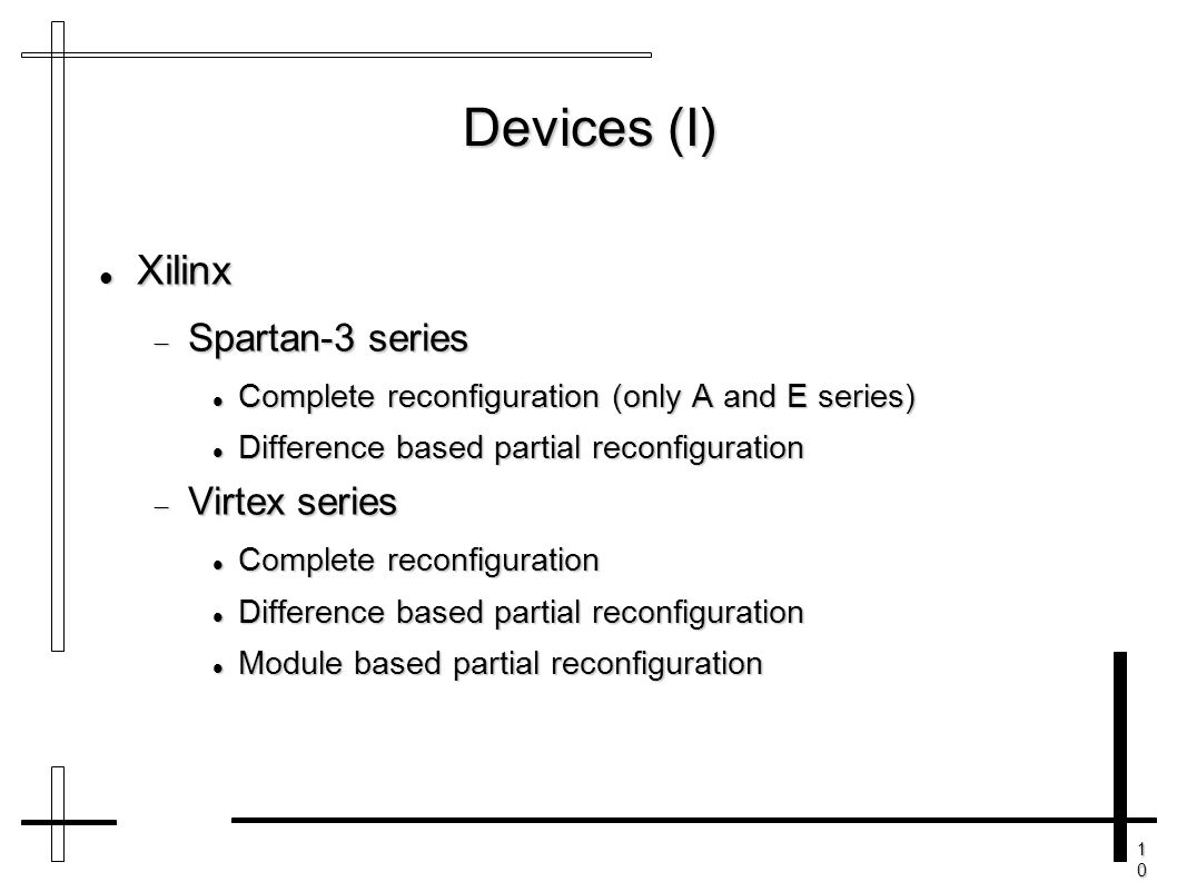 10101010 Devices (I) Xilinx Xilinx  Spartan-3 series Complete reconfiguration (only A and E series) Complete reconfiguration (only A and E series) Di