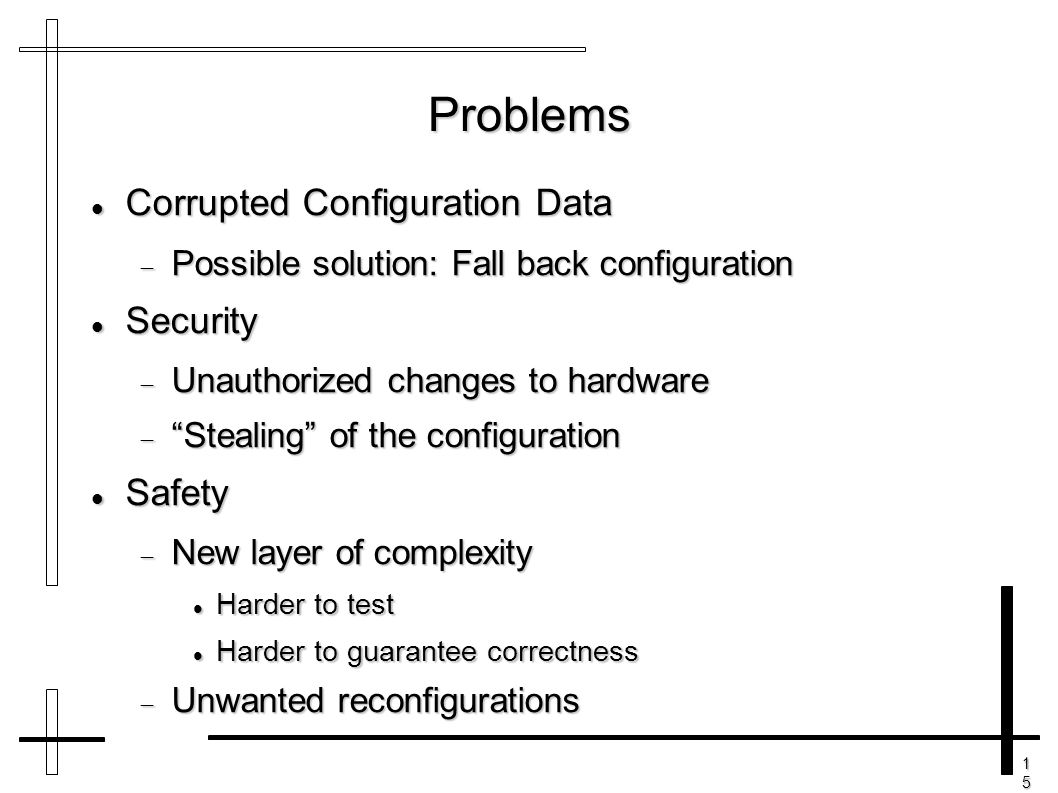 15151515 Problems Corrupted Configuration Data Corrupted Configuration Data  Possible solution: Fall back configuration Security Security  Unauthori