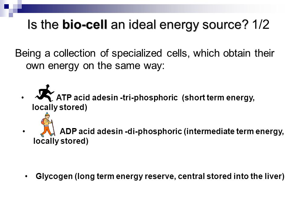 ATP acid adesin -tri-phosphoric (short term energy, locally stored) Is the bio-cell an ideal energy source.