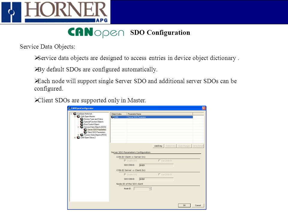 SDO Configuration Service Data Objects:  Service data objects are designed to access entries in device object dictionary.  By default SDOs are confi