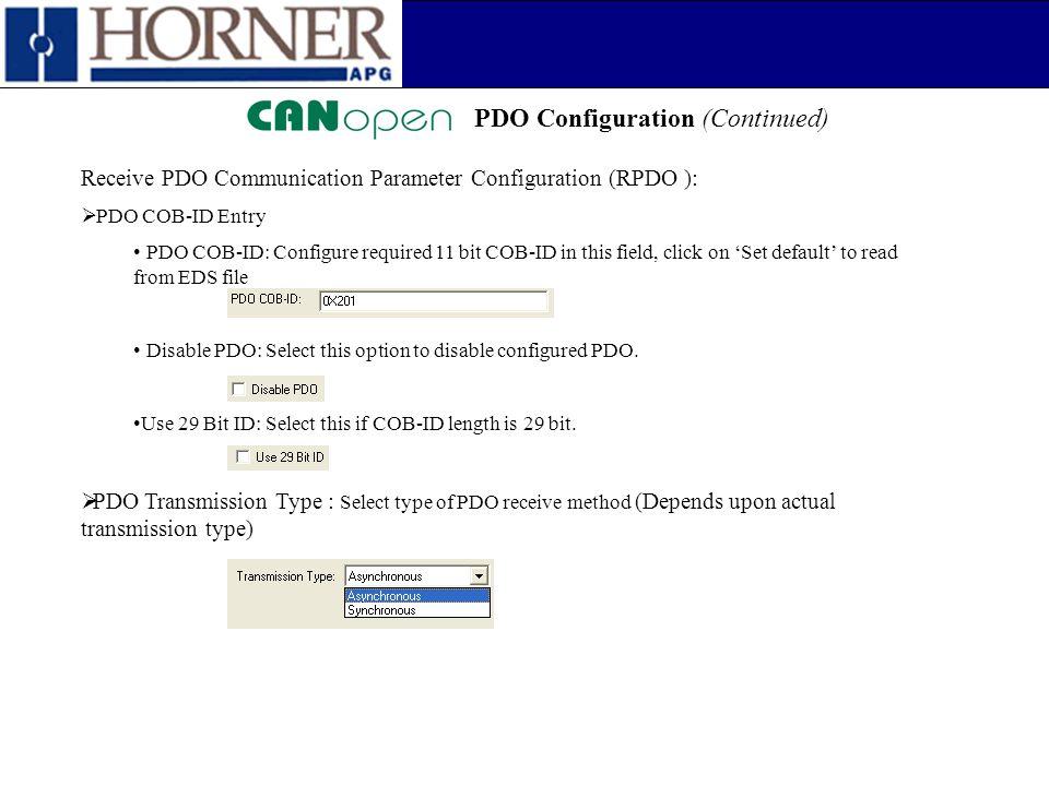 PDO Configuration (Continued) Receive PDO Communication Parameter Configuration (RPDO ):  PDO COB-ID Entry PDO COB-ID: Configure required 11 bit COB-