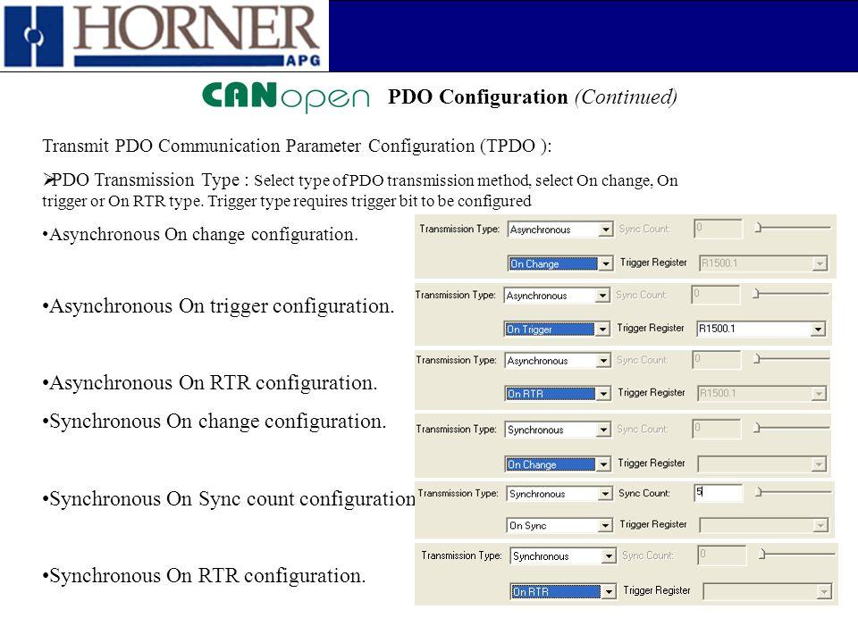 PDO Configuration (Continued) Transmit PDO Communication Parameter Configuration (TPDO ):  PDO Transmission Type : Select type of PDO transmission me