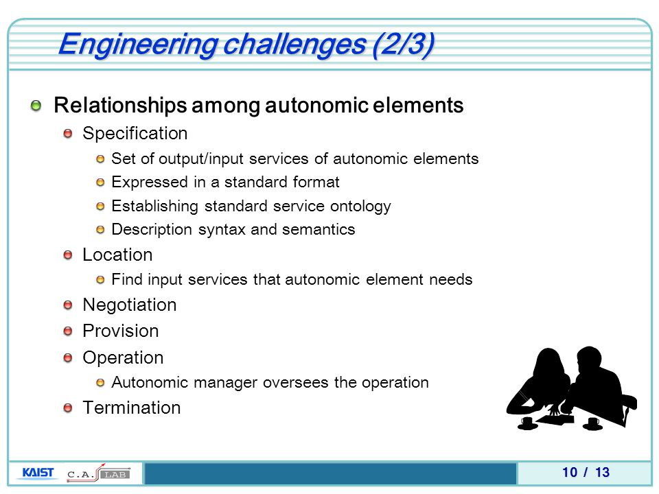 10 / 13 Engineering challenges (2/3) Relationships among autonomic elements Specification Set of output/input services of autonomic elements Expressed