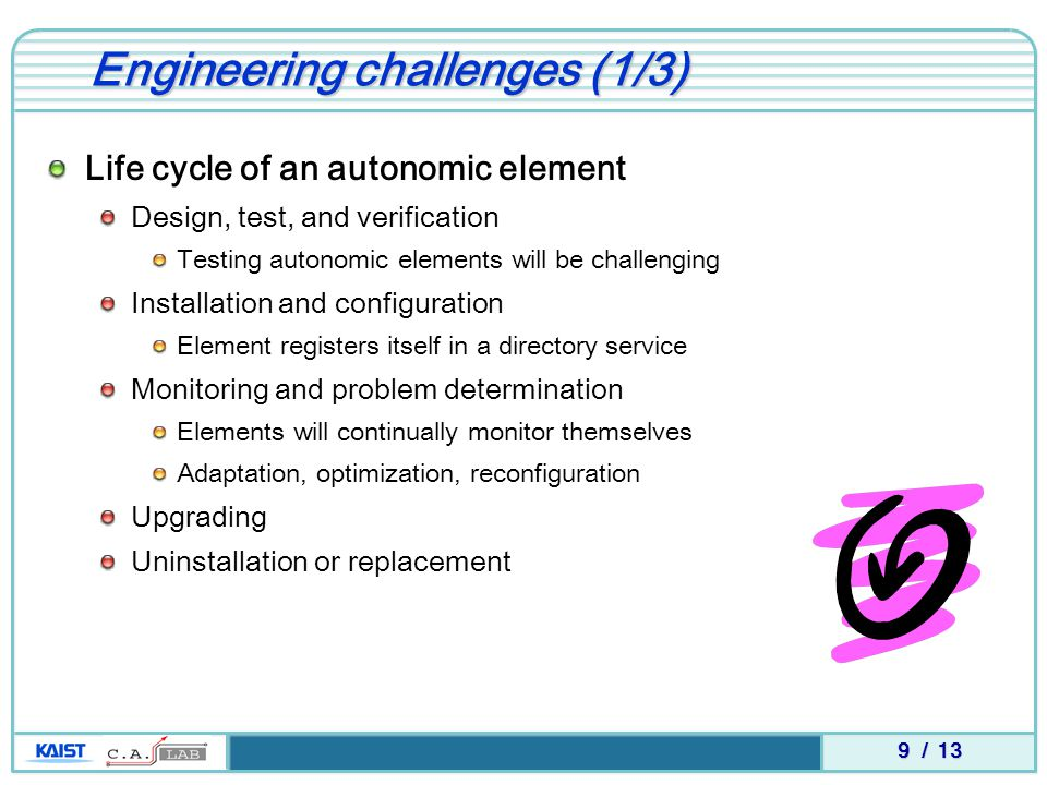 9 / 13 Engineering challenges (1/3) Life cycle of an autonomic element Design, test, and verification Testing autonomic elements will be challenging I
