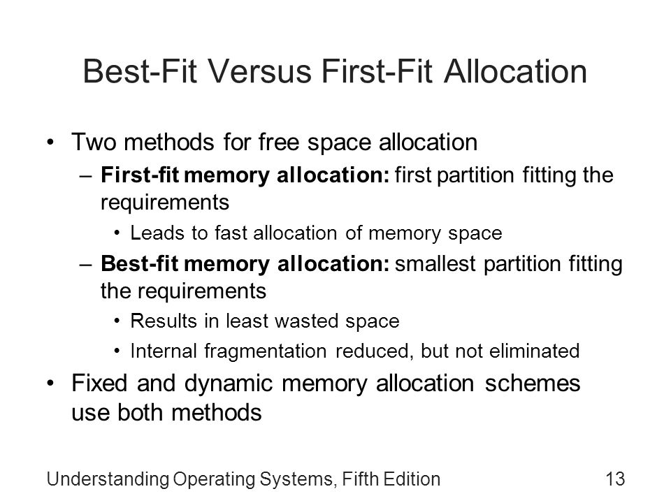 Understanding Operating Systems, Fifth Edition13 Best-Fit Versus First-Fit Allocation Two methods for free space allocation –First-fit memory allocati