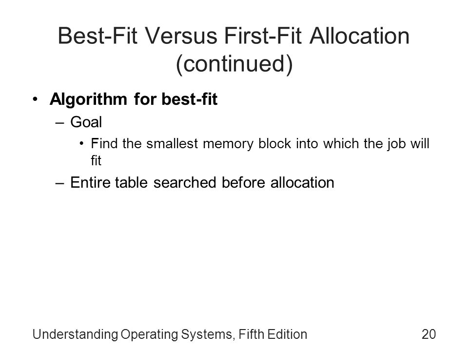 Understanding Operating Systems, Fifth Edition20 Best-Fit Versus First-Fit Allocation (continued) Algorithm for best-fit –Goal Find the smallest memor