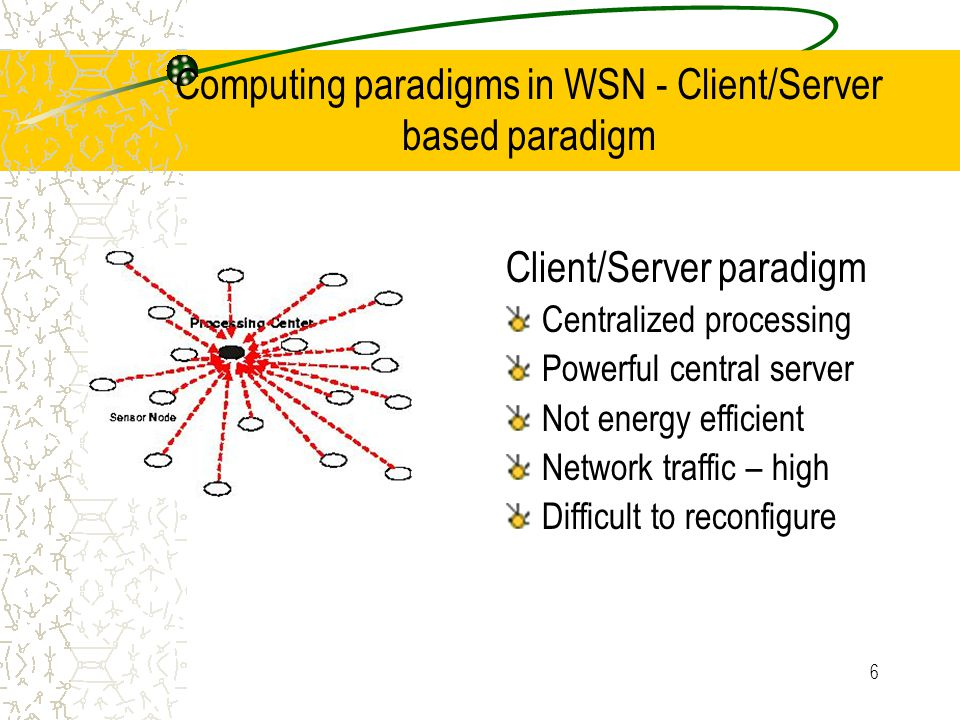 6 Computing paradigms in WSN - Client/Server based paradigm Client/Server paradigm Centralized processing Powerful central server Not energy efficient Network traffic – high Difficult to reconfigure