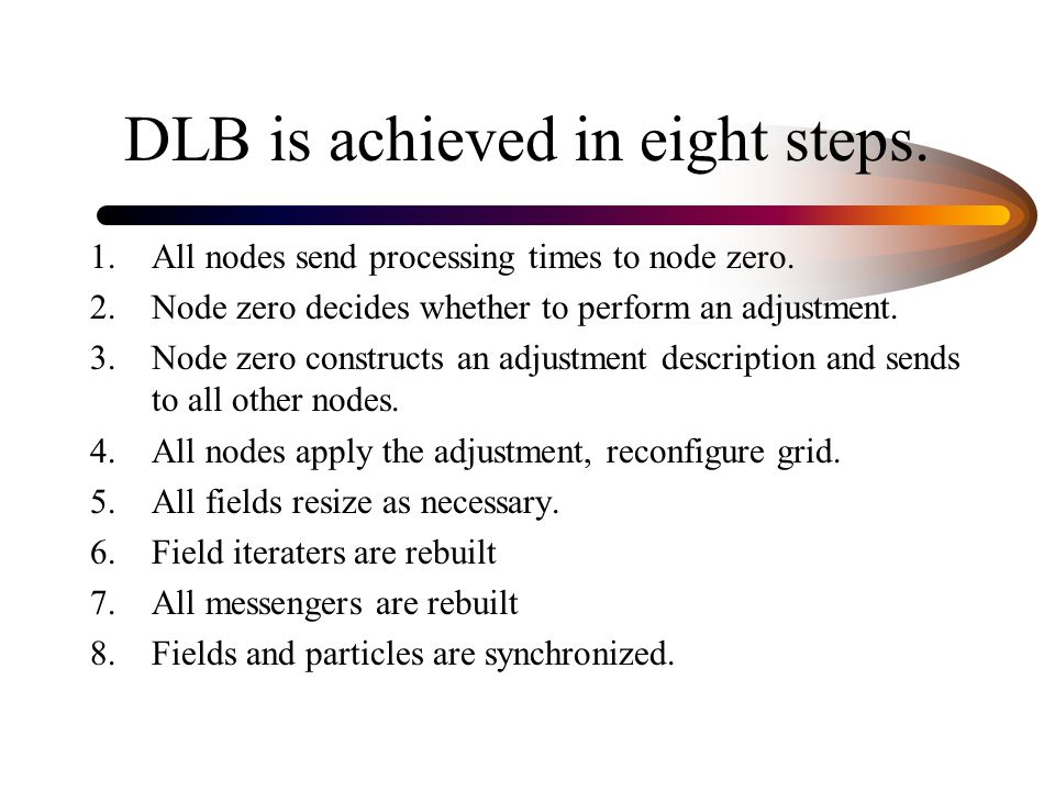 DLB is achieved in eight steps.1.All nodes send processing times to node zero.