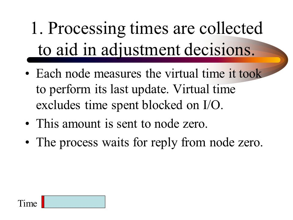 1.Processing times are collected to aid in adjustment decisions.