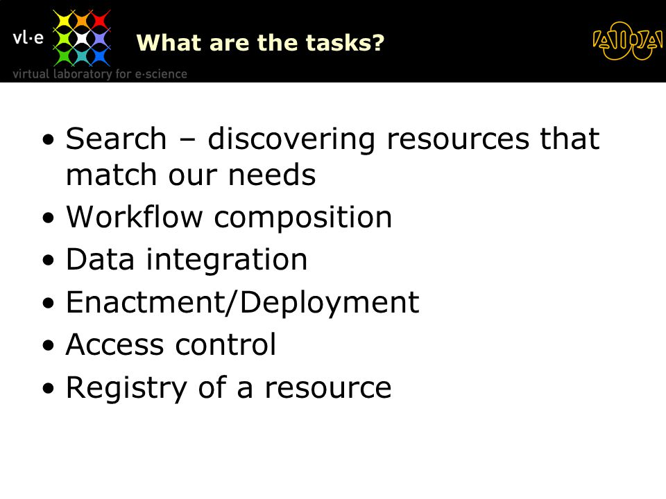 What are the tasks? Search – discovering resources that match our needs Workflow composition Data integration Enactment/Deployment Access control Regi