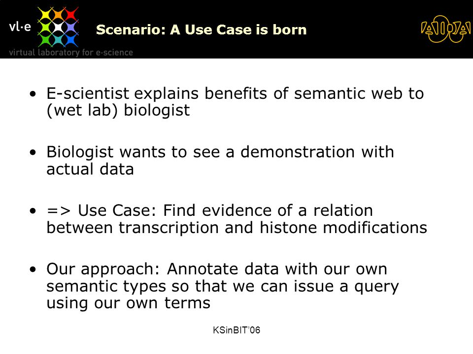 KSinBIT'06 Scenario: A Use Case is born E-scientist explains benefits of semantic web to (wet lab) biologist Biologist wants to see a demonstration with actual data => Use Case: Find evidence of a relation between transcription and histone modifications Our approach: Annotate data with our own semantic types so that we can issue a query using our own terms