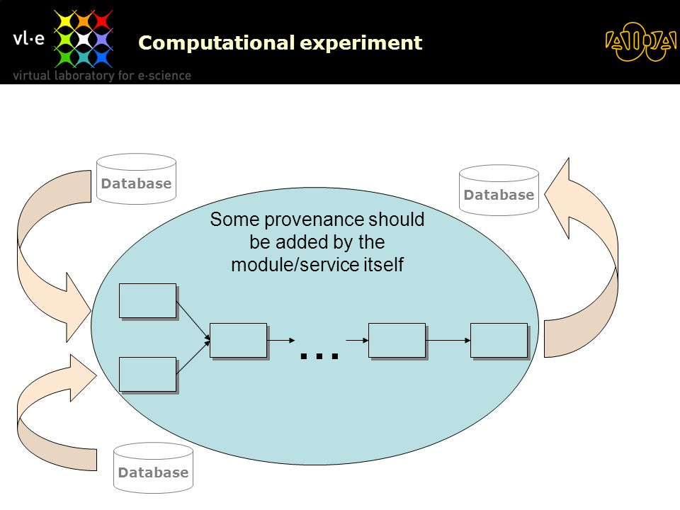 Computational experiment Database Some provenance should be added by the module/service itself Database...