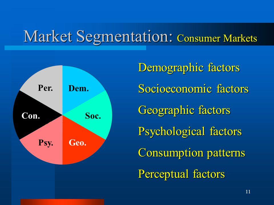11 Market Segmentation: Consumer Markets Demographic factors ConsumerMarkets Socioeconomic factors Geographic factors Psychological factors Consumption patterns Perceptual factors Dem.