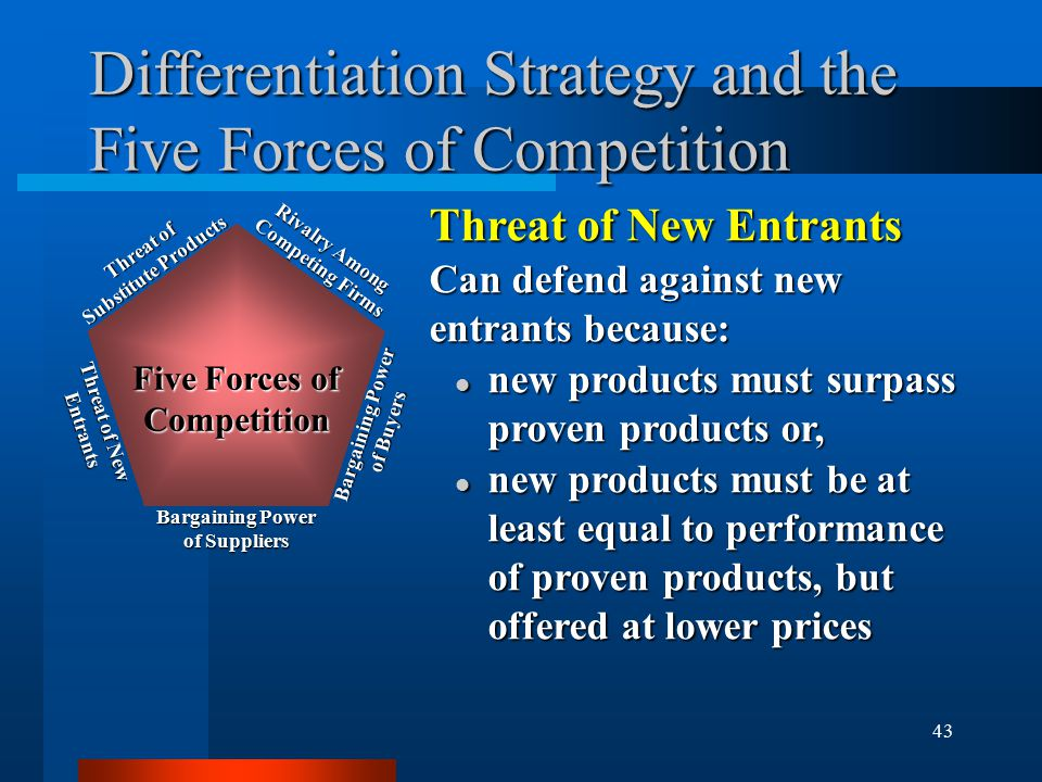 43 Differentiation Strategy and the Five Forces of Competition Threat of New Entrants Can defend against new entrants because: l new products must surpass proven products or, l new products must be at least equal to performance of proven products, but offered at lower prices Rivalry Among Competing Firms Bargaining Power of Buyers Bargaining Power of Suppliers Threat of New Entrants Threat of Substitute Products Five Forces of Competition