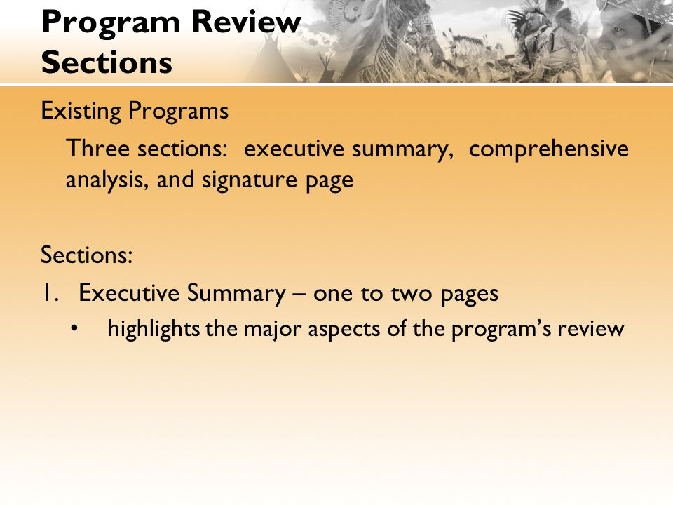Program Review Sections Existing Programs Three sections: executive summary, comprehensive analysis, and signature page Sections: 1.Executive Summary – one to two pages highlights the major aspects of the program's review