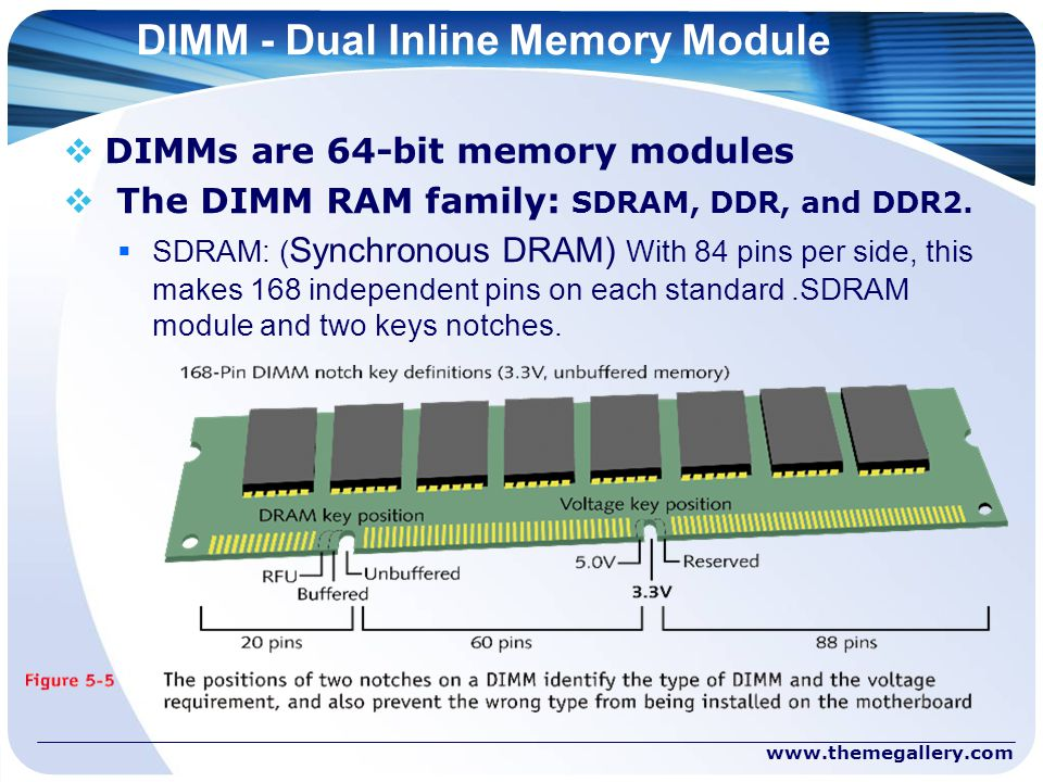 DIMM - Dual Inline Memory Module  DIMMs are 64-bit memory modules  The DIMM RAM family: SDRAM, DDR, and DDR2.