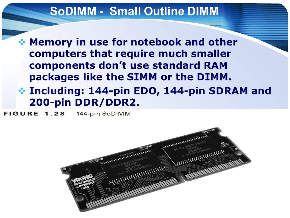 SoDIMM - Small Outline DIMM  Memory in use for notebook and other computers that require much smaller components don't use standard RAM packages like the SIMM or the DIMM.