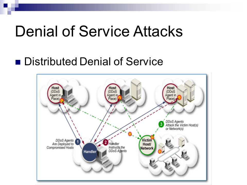 Denial of Service Attacks Distributed Denial of Service
