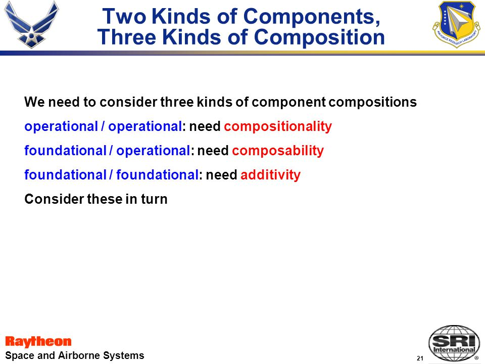 21 Space and Airborne Systems Two Kinds of Components, Three Kinds of Composition We need to consider three kinds of component compositions operational / operational: need compositionality foundational / operational: need composability foundational / foundational: need additivity Consider these in turn