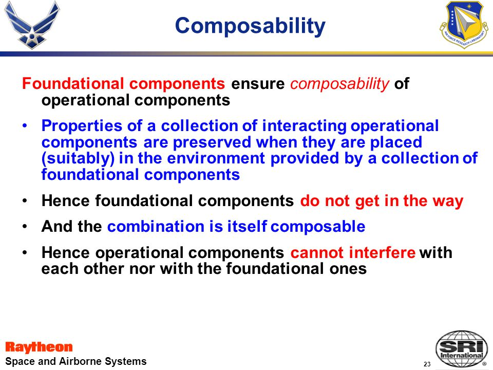 23 Space and Airborne Systems Composability Foundational components ensure composability of operational components Properties of a collection of interacting operational components are preserved when they are placed (suitably) in the environment provided by a collection of foundational components Hence foundational components do not get in the way And the combination is itself composable Hence operational components cannot interfere with each other nor with the foundational ones