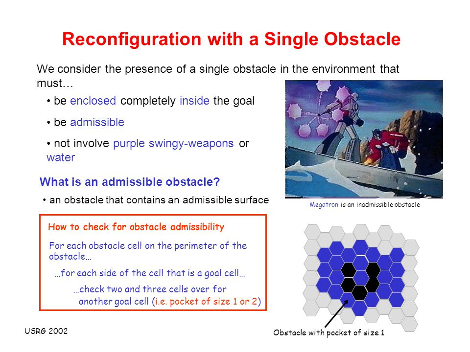 USRG 2002 Reconfiguration with a Single Obstacle We consider the presence of a single obstacle in the environment that must… be enclosed completely inside the goal be admissible not involve purple swingy-weapons or water What is an admissible obstacle.