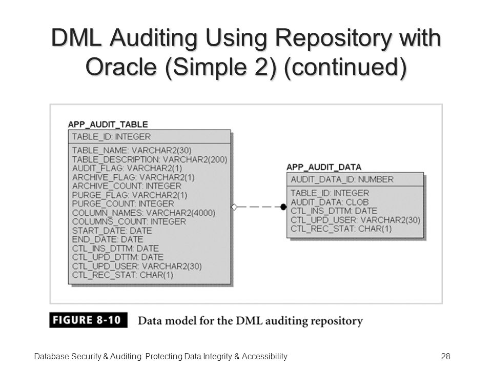 Database Security & Auditing: Protecting Data Integrity & Accessibility28 DML Auditing Using Repository with Oracle (Simple 2) (continued)