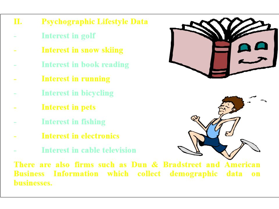 II.Psychographic Lifestyle Data -Interest in golf -Interest in snow skiing -Interest in book reading -Interest in running -Interest in bicycling -Inte