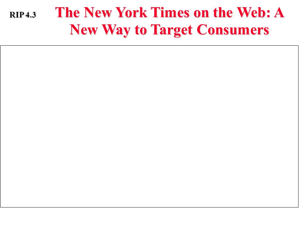 The New York Times on the Web: A New Way to Target Consumers RIP 4.3 The New York Times Electronic Media Company offers The New York Times on the Web database information to advertisers in a manner that enables firms to leverage the site's 2 million registrants.