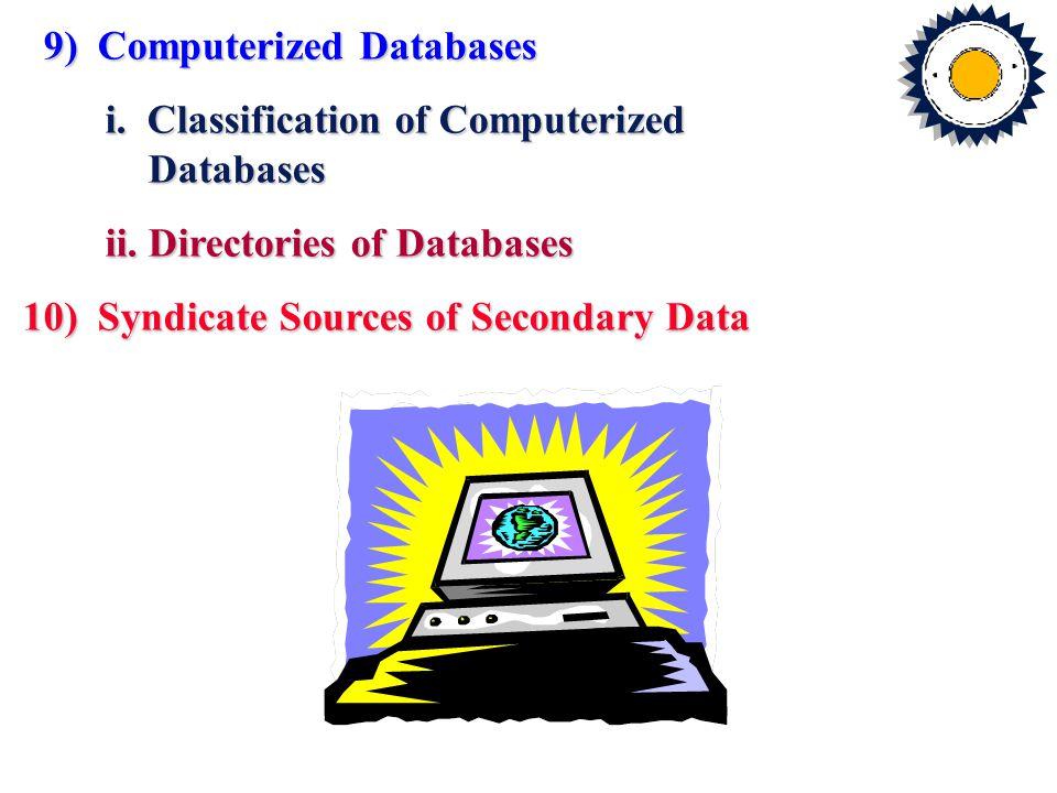 9) Computerized Databases 9) Computerized Databases i.