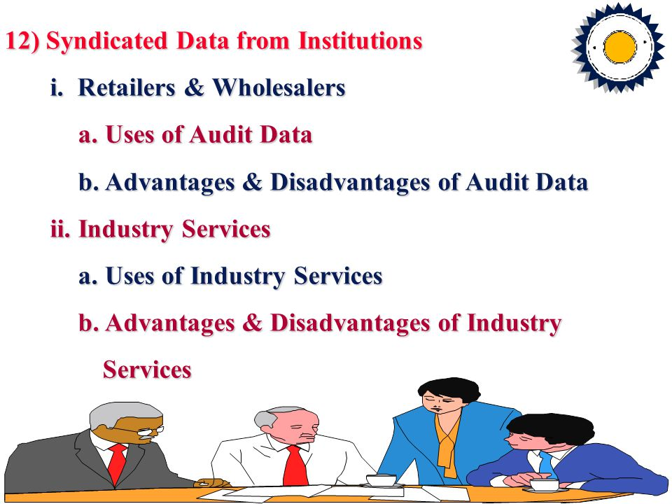 12) Syndicated Data from Institutions i. Retailers & Wholesalers i. Retailers & Wholesalers a. Uses of Audit Data a. Uses of Audit Data b. Advantages