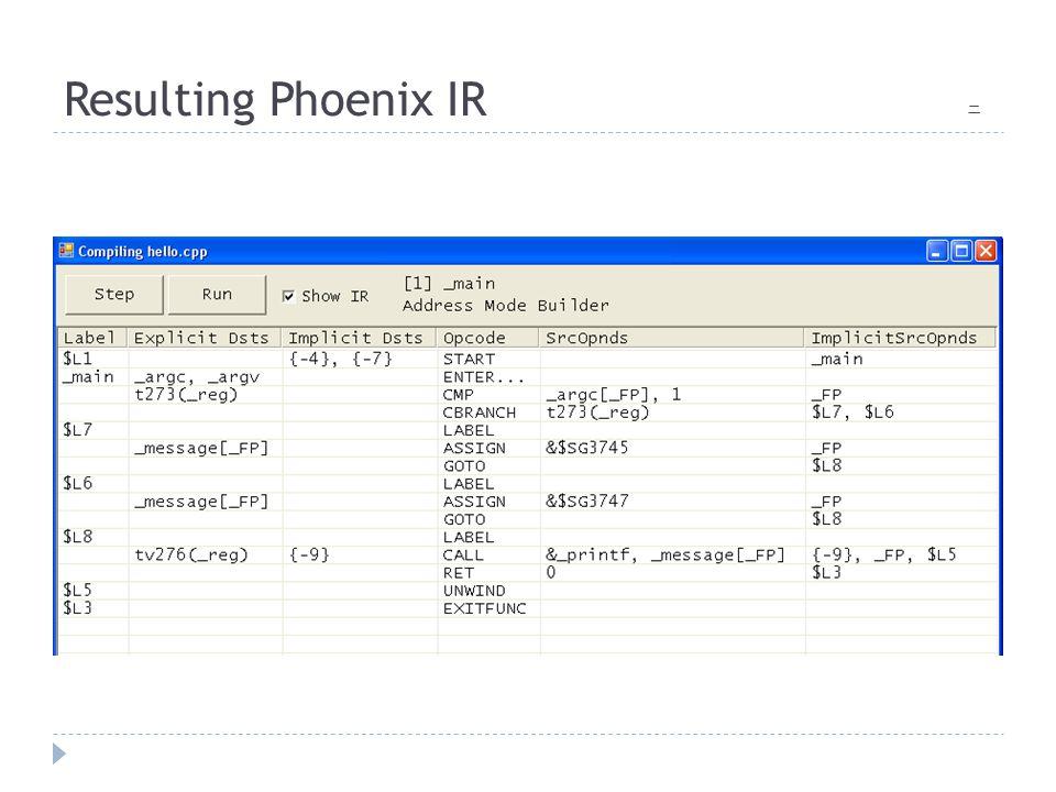 Resulting Phoenix IR 二