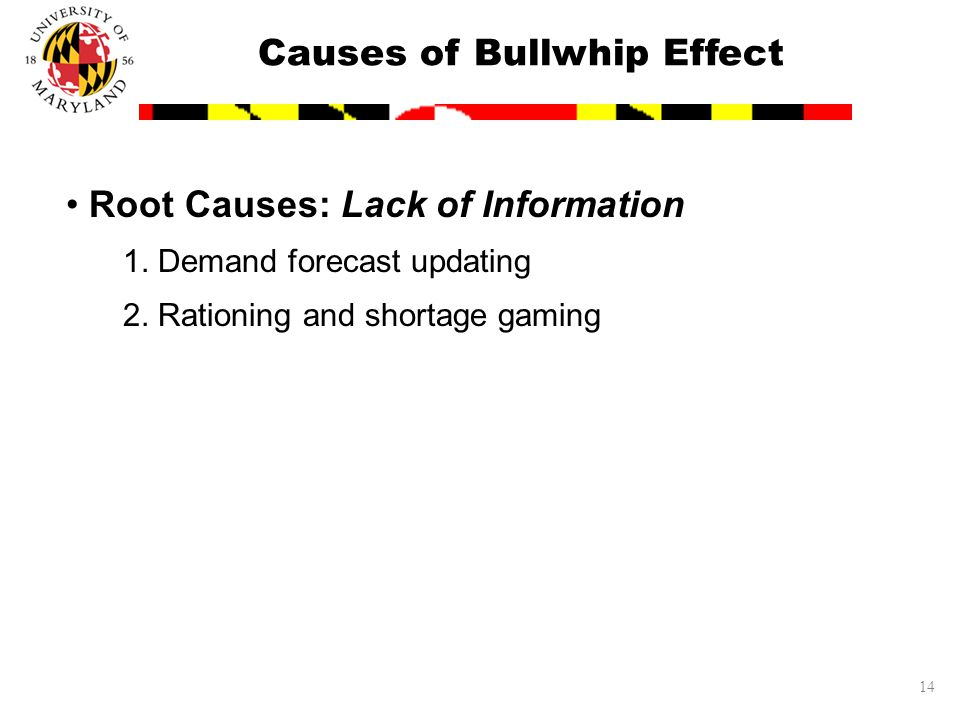 14 Root Causes: Lack of Information 1. Demand forecast updating 2.