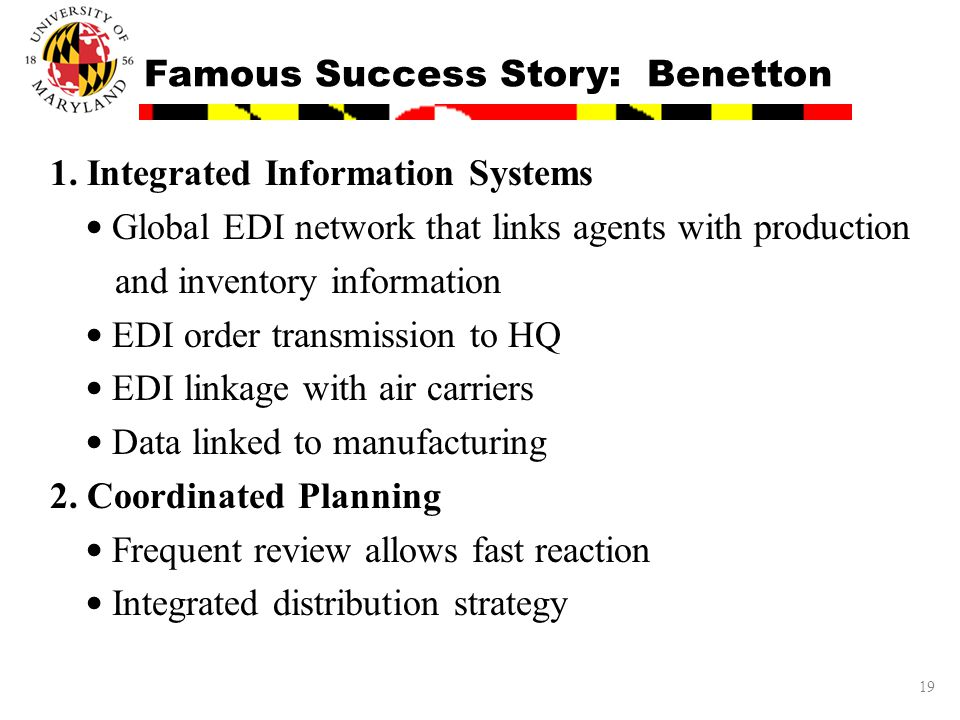 19 Famous Success Story: Benetton 1. Integrated Information Systems Global EDI network that links agents with production and inventory information EDI