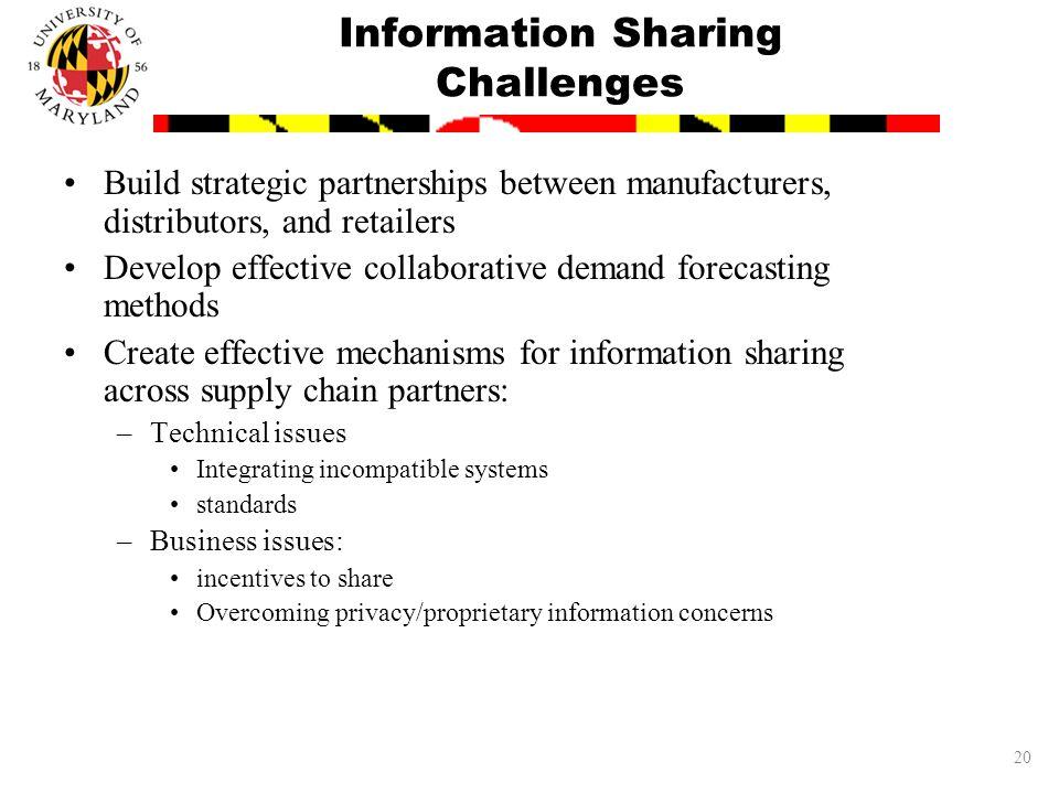 20 Information Sharing Challenges Build strategic partnerships between manufacturers, distributors, and retailers Develop effective collaborative dema