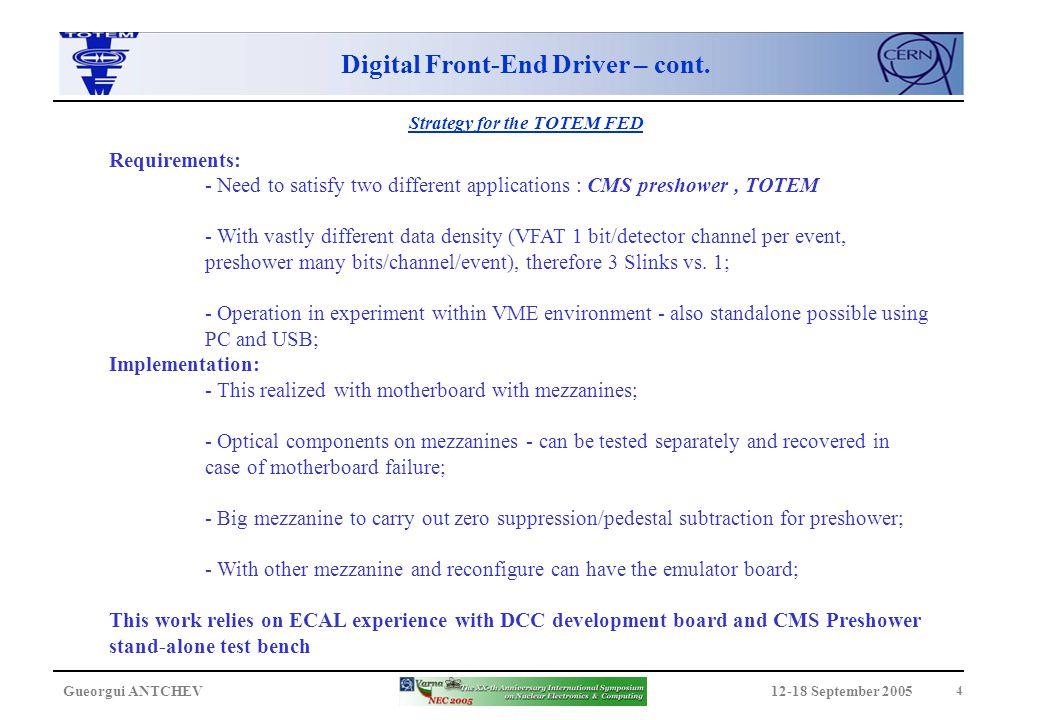 12-18 September 2005Gueorgui ANTCHEV 5 Block Diagram Digital Front-End Driver – cont.
