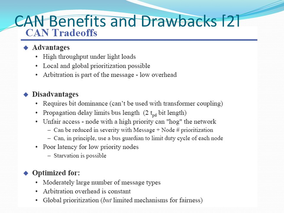 CAN Benefits and Drawbacks [2]
