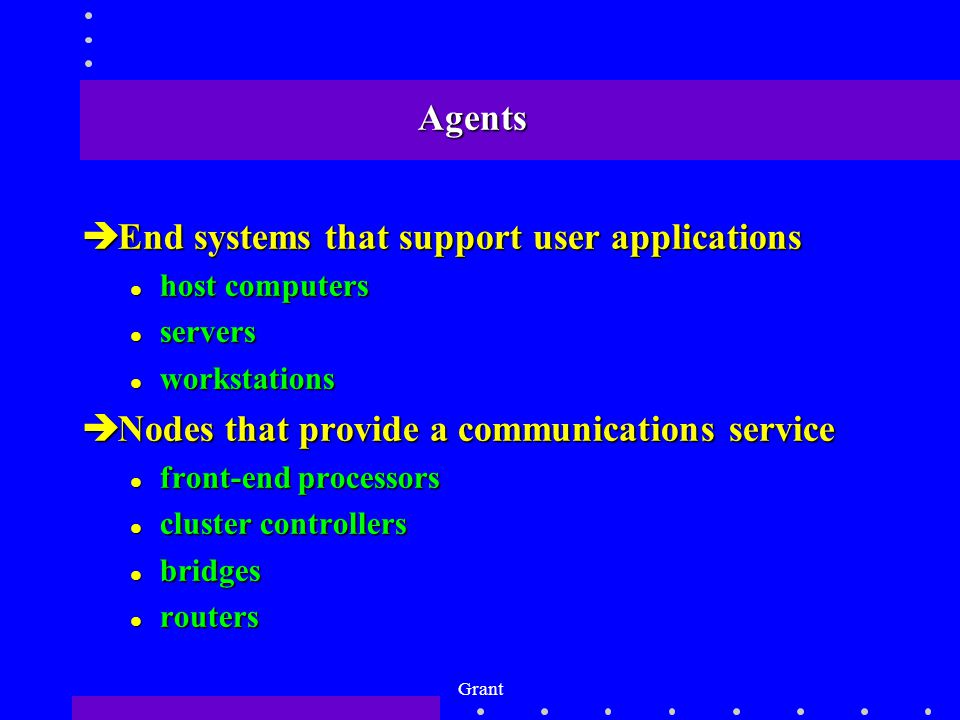 Grant Agents èEnd systems that support user applications l host computers l servers l workstations èNodes that provide a communications service l front-end processors l cluster controllers l bridges l routers