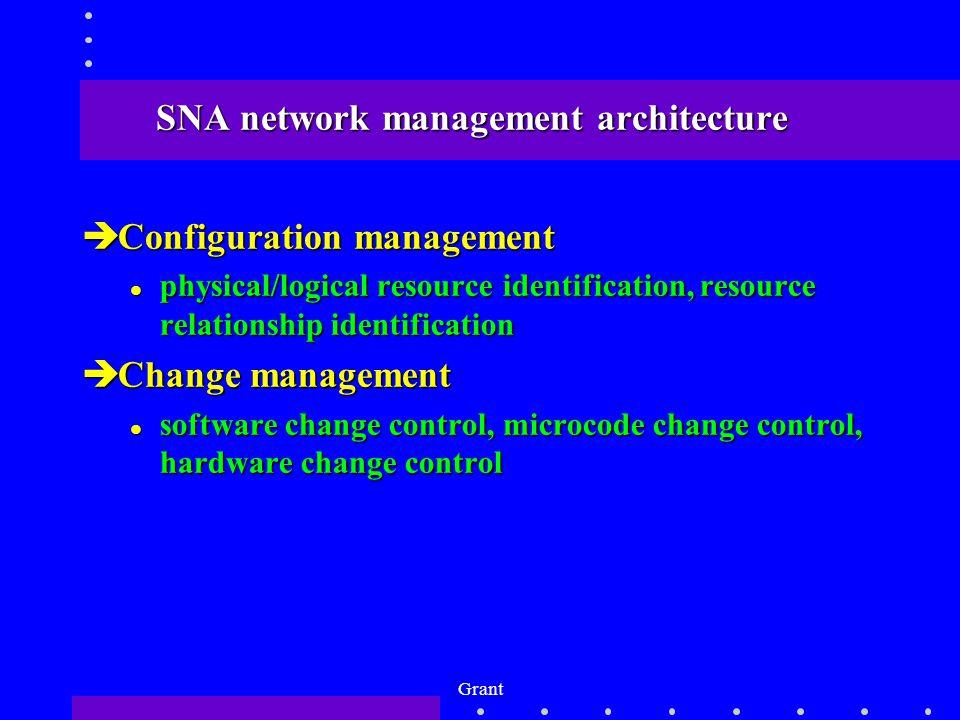 Grant SNA network management architecture èConfiguration management l physical/logical resource identification, resource relationship identification èChange management l software change control, microcode change control, hardware change control
