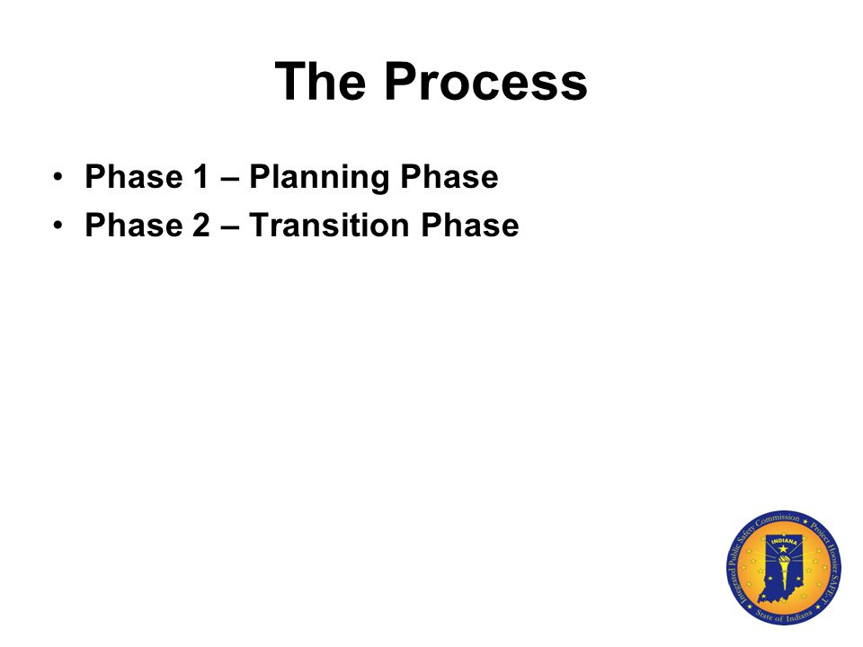 The Process Phase 1 – Planning Phase Phase 2 – Transition Phase