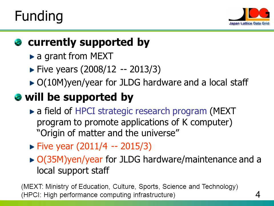 4 Funding currently supported by a grant from MEXT Five years (2008/12 -- 2013/3) O(10M)yen/year for JLDG hardware and a local staff will be supported
