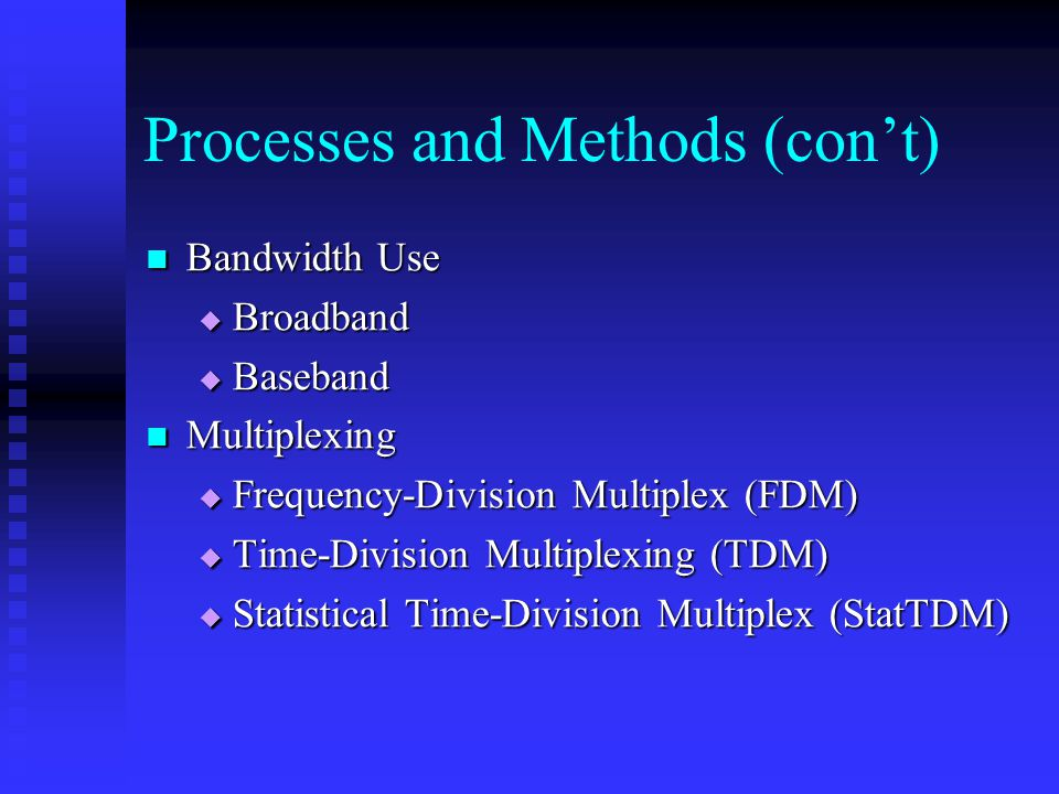 Processes and Methods (con't) Bandwidth Use Bandwidth Use  Broadband  Baseband Multiplexing Multiplexing  Frequency-Division Multiplex (FDM)  Time-Division Multiplexing (TDM)  Statistical Time-Division Multiplex (StatTDM)