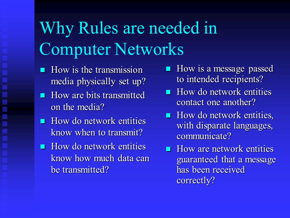Why Rules are needed in Computer Networks How is the transmission media physically set up.