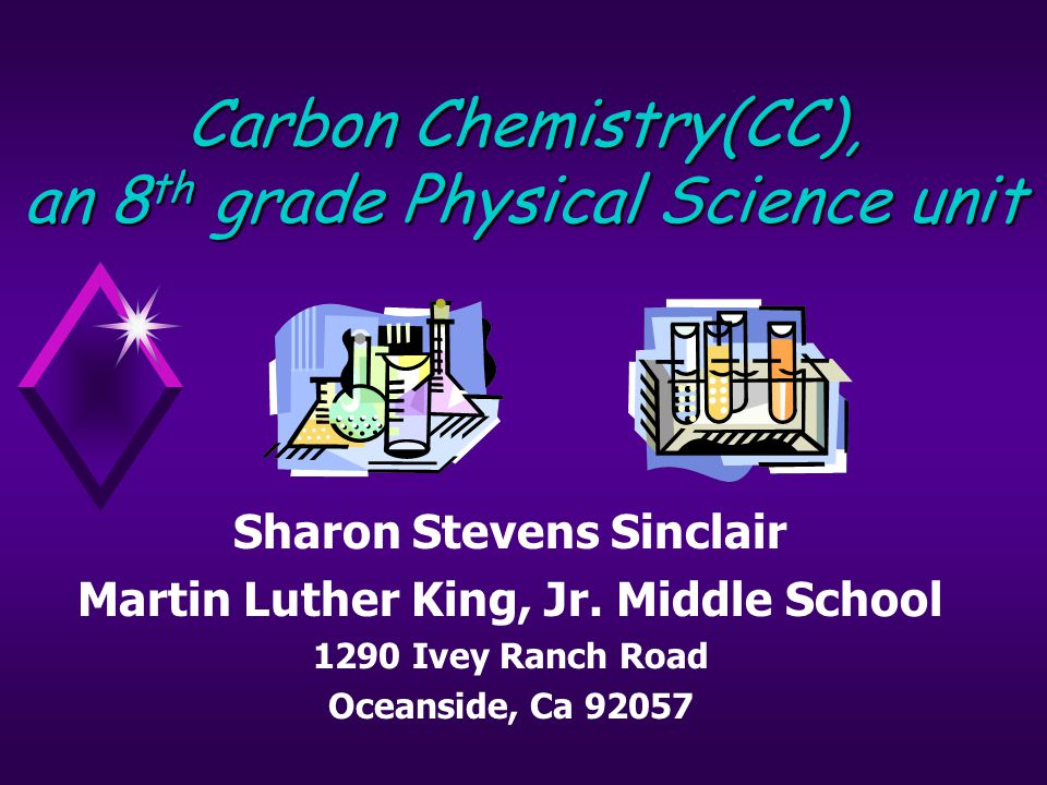 Carbon Chemistry: Background Info Web site:http://ctap295.ctaponline.org/~ssinclai/http://ctap295.ctaponline.org/~ssinclai/ This two-week lesson was the final unit in the chemistry curriculum in 8th grade physical science.