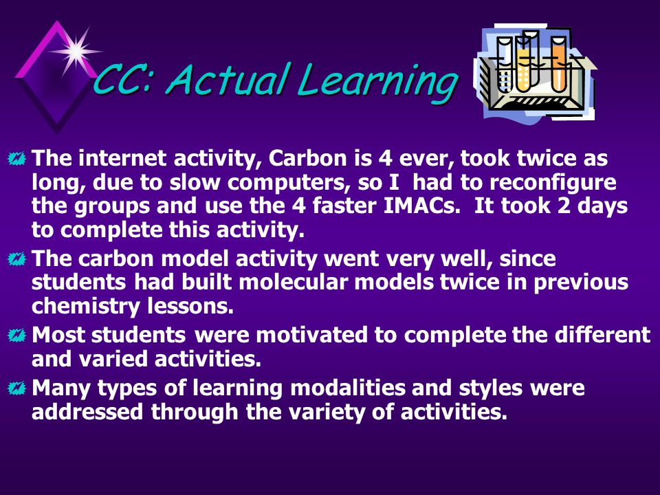 CC: Actual Learning  The internet activity, Carbon is 4 ever, took twice as long, due to slow computers, so I had to reconfigure the groups and use the 4 faster IMACs.